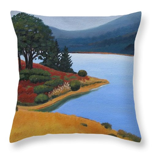 Reservior Throw Pillow featuring the painting Crystal Springs by Gary Coleman