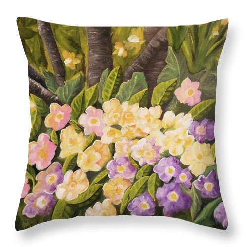 Floral Throw Pillow featuring the painting Crystal's Primroses by Lahoma Nally-Kaye