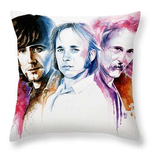 David Crosby Throw Pillow featuring the painting CSN by Ken Meyer
