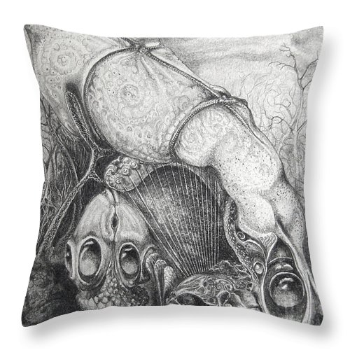 Surrealism Throw Pillow featuring the drawing Ctulhu Seedpods by Otto Rapp