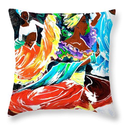 Rhythm Throw Pillow featuring the painting Cuban Dancers - Magical Rhythms... by Elisabeta Hermann