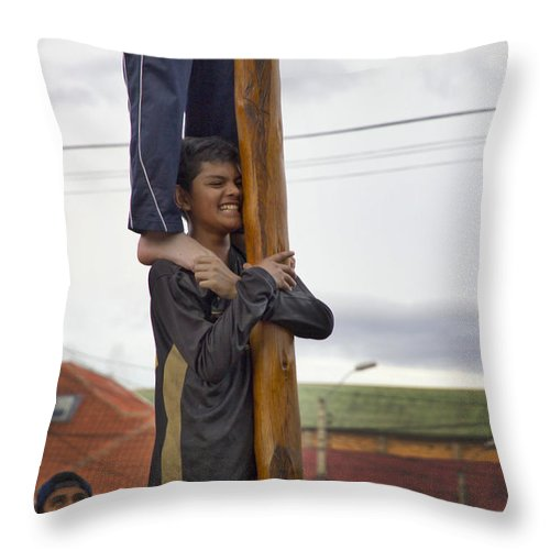 Expression Throw Pillow featuring the photograph Cuenca Kids 638 by Al Bourassa