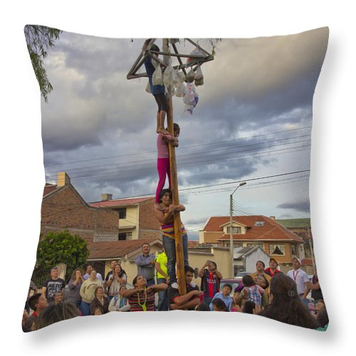 Expression Throw Pillow featuring the photograph Cuenca Kids 639 by Al Bourassa