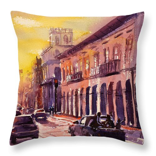 Andes Throw Pillow featuring the painting Cuenca Travel- Ecuador by Ryan Fox