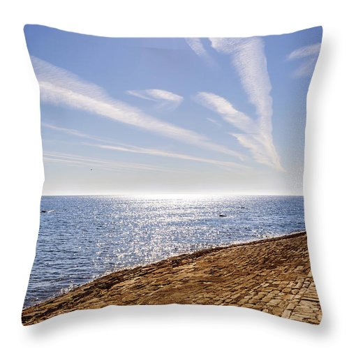 Cullercoats Pier Throw Pillow featuring the photograph Cullercoats Pier by Naylors Photography