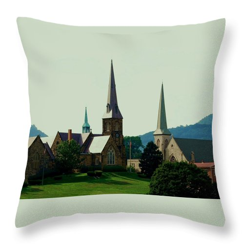 Church Steeples Throw Pillow featuring the photograph Cumberand Steeples by Eric Liller