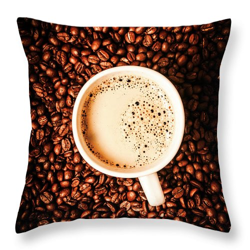 Coffee Throw Pillow featuring the photograph Cup And The Coffee Store by Jorgo Photography - Wall Art Gallery