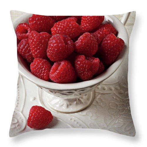 Raspberries Fruit Cup Food Berry Throw Pillow featuring the photograph Cup Full Of Raspberries by Garry Gay