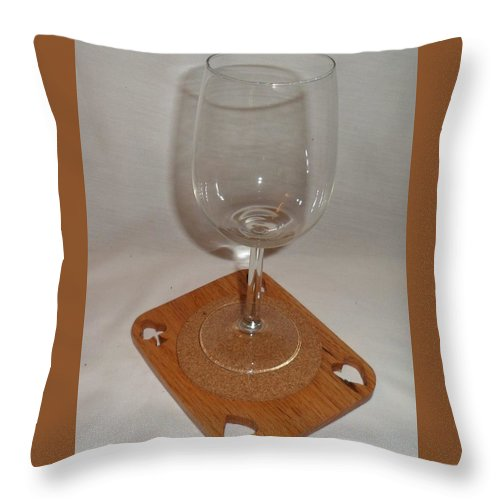 Cup Throw Pillow featuring the relief Cup Holder by M and D Magic Creations