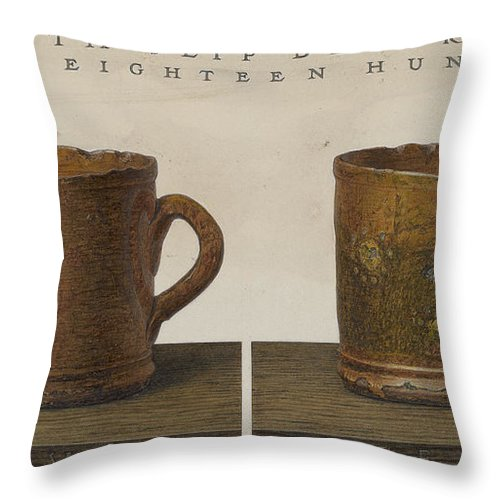 Throw Pillow featuring the drawing Cup With Slip Decoration by John Matulis