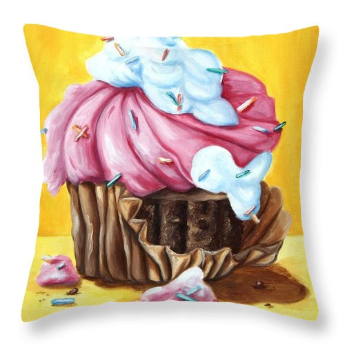 Cupcake Throw Pillow featuring the painting Cupcake by Maryn Crawford