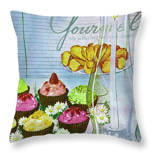 Illustration Throw Pillow featuring the photograph Cupcakes And Gaufrettes Beside A Candle by Henry Stahlhut