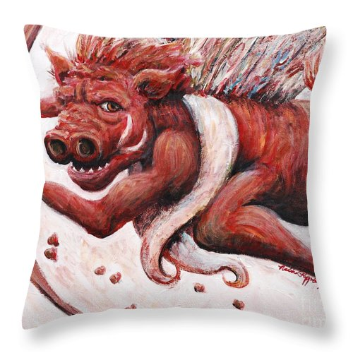 Pig Throw Pillow featuring the painting Cupig by Nadine Rippelmeyer