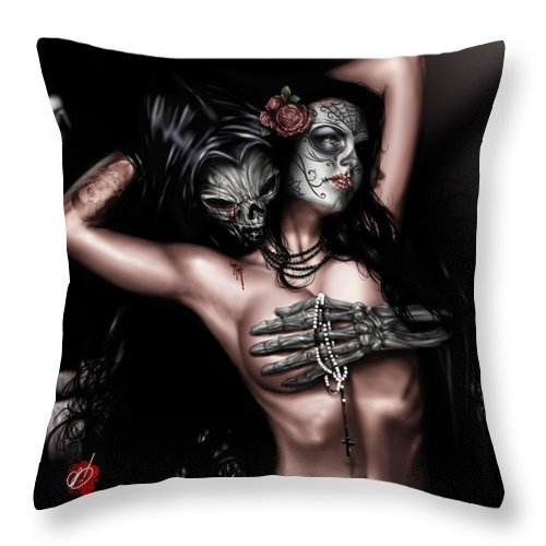 Christy Throw Pillow featuring the painting Cure My Tragedy by Pete Tapang