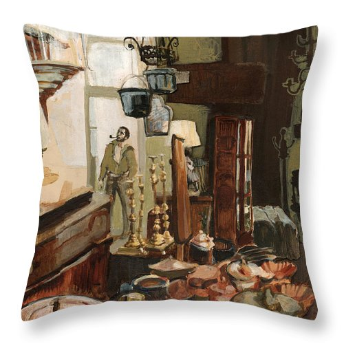 Interior Throw Pillow featuring the painting Curio Shop by Nancy Watson