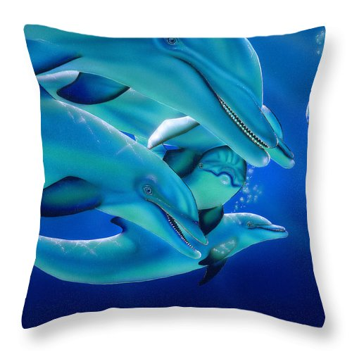 Dolphins Throw Pillow featuring the painting Curiosity by Angie Hamlin
