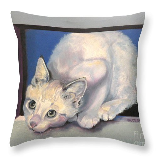 Cat Greeting Card Throw Pillow featuring the painting Curiosity by Susan A Becker