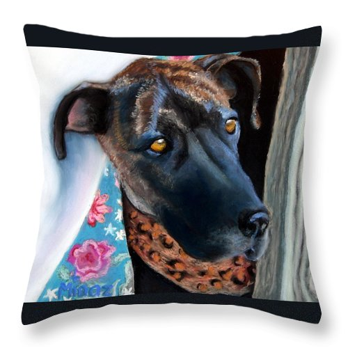 Great Dane Throw Pillow featuring the painting Whats Going On? by Minaz Jantz