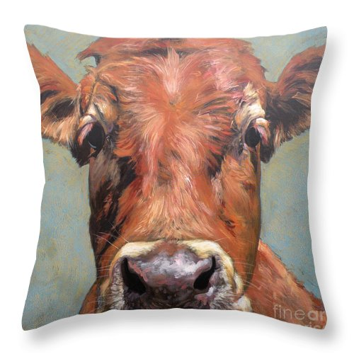 Cow Throw Pillow featuring the painting Curious Cow by Leigh Banks