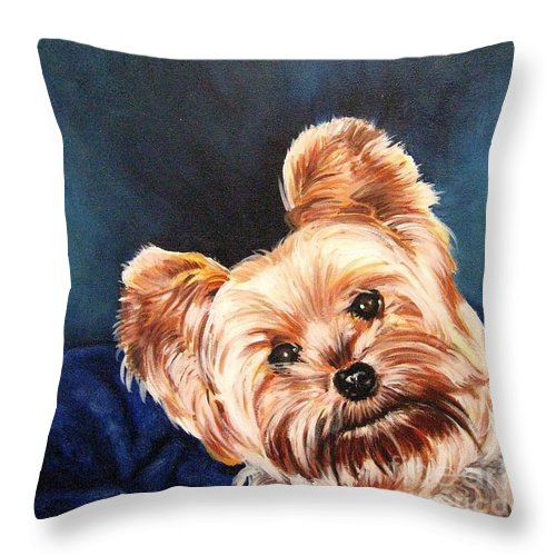 Animals Throw Pillow featuring the painting Curious Yorkie by Holger Majorahn