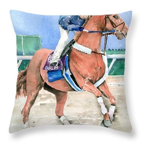 Curlin Throw Pillow featuring the painting Curlin by Arline Wagner