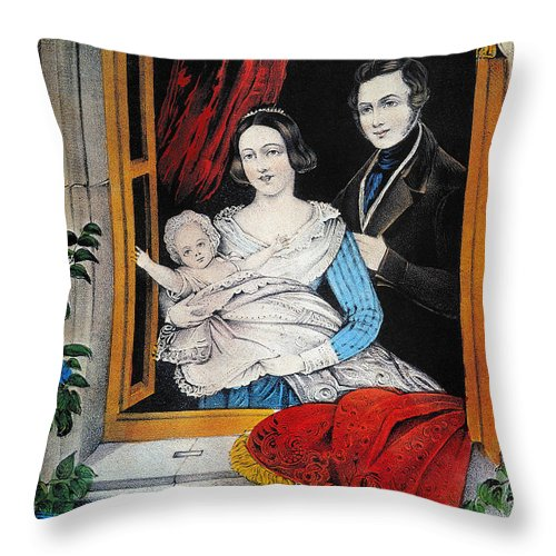 1848 Throw Pillow featuring the photograph Currier: Marriage, 1848 by Granger
