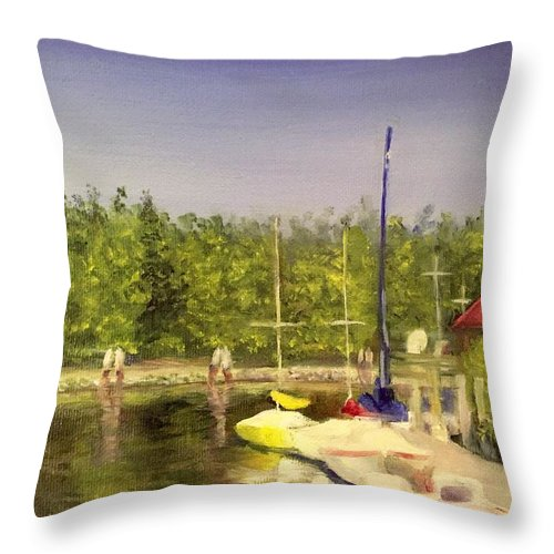 Sailboats Throw Pillow featuring the painting Curtin's Marina II by Sheila Mashaw