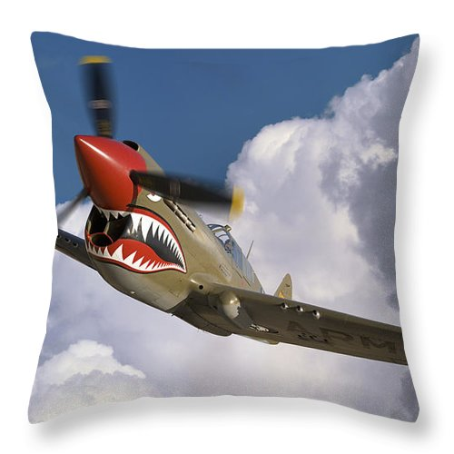 Flying Tigers Throw Pillow featuring the photograph Curtiss P-40n Warhawk by Larry McManus