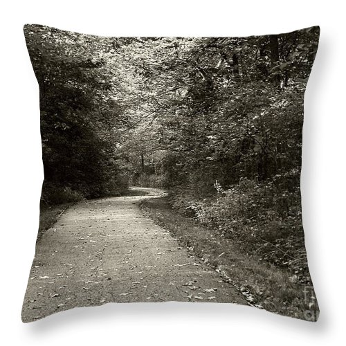 Black And White Throw Pillow featuring the photograph Curve In The Road by Carol Sweetwood