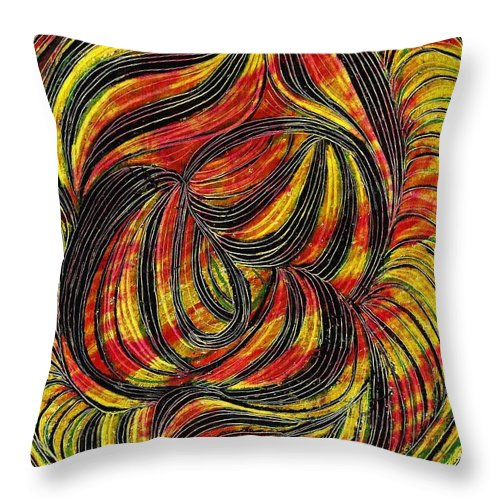 Curve Throw Pillow featuring the drawing Curved Lines 2 by Sarah Loft