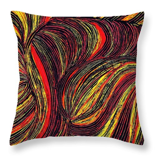 Curve Throw Pillow featuring the drawing Curved Lines 3 by Sarah Loft