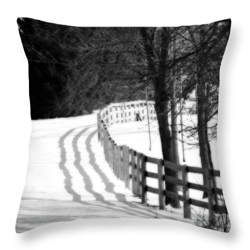 Fence Throw Pillow featuring the photograph Curving Around The Corner by Cathy Beharriell
