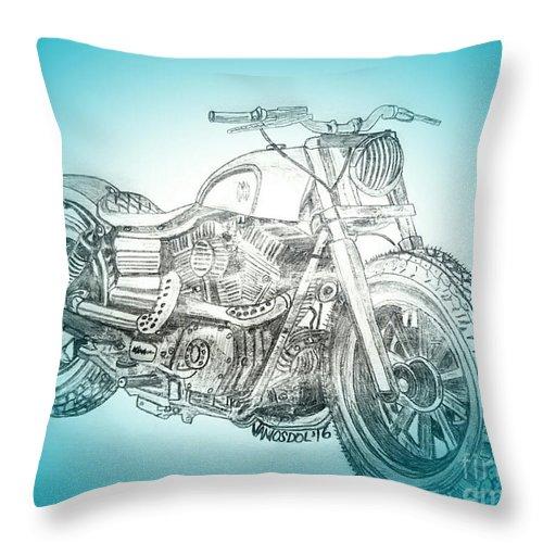 Throw Pillows Spotlight : Custom Harley Davidson - Blue Spotlight Abstract Throw Pillow for Sale by Scott D Van Osdol