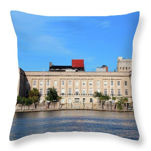 Federal Building Throw Pillow featuring the photograph Custom House by Cynthia Guinn