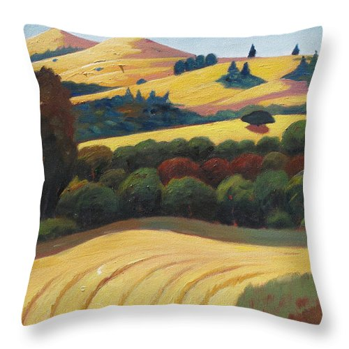 Hay Throw Pillow featuring the painting Cut Grass by Gary Coleman