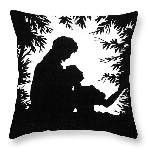 19th Century Throw Pillow featuring the photograph Cut-paper Silhouette by Granger