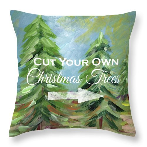 Tree Throw Pillow featuring the painting Cut Your Own Tree- Art By Linda Woods by Linda Woods