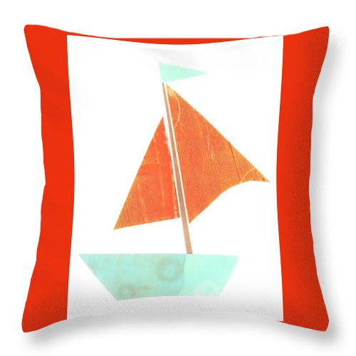 Cute Sailboat Collage Throw Pillow featuring the mixed media Cute Collage Sailboat 508 by Carol Leigh