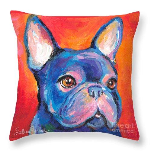 French Bulldog Gifts Throw Pillow featuring the painting Cute French Bulldog Painting Prints by Svetlana Novikova