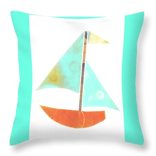 Cute Sailboat Collage Throw Pillow featuring the mixed media Cute Sailboat Collage 507 by Carol Leigh
