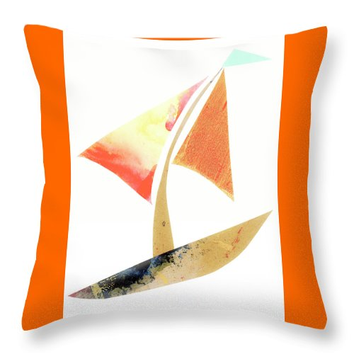Cute Sailboat Collage Throw Pillow featuring the mixed media Cute Sailboat Collage 517 by Carol Leigh