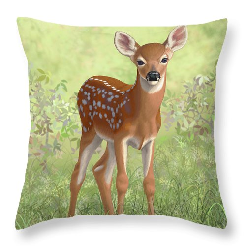 Deer Throw Pillow featuring the painting Cute Whitetail Deer Fawn by Crista Forest