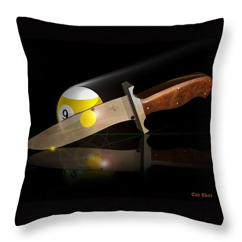 Pool Throw Pillow featuring the digital art Cutshot by Draw Shots