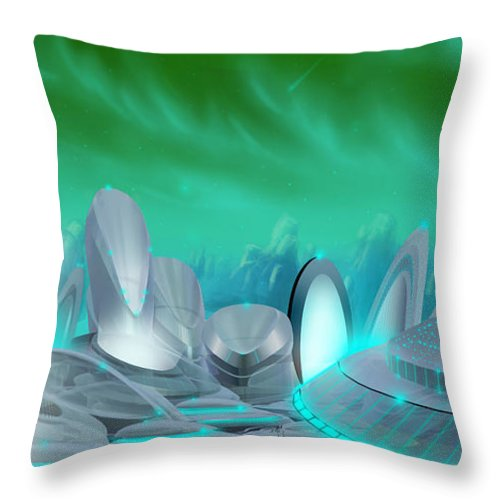 Science Fiction City Throw Pillow featuring the painting Cyan City by James Christopher Hill