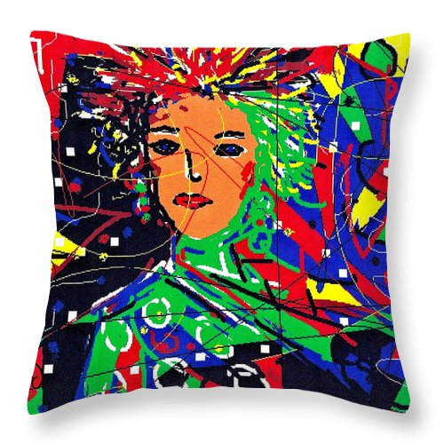 Woman Throw Pillow featuring the digital art Cyberspace Goddess by Natalie Holland