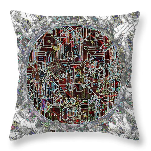 Abstract Throw Pillow featuring the painting Cyborg Heart by RC DeWinter