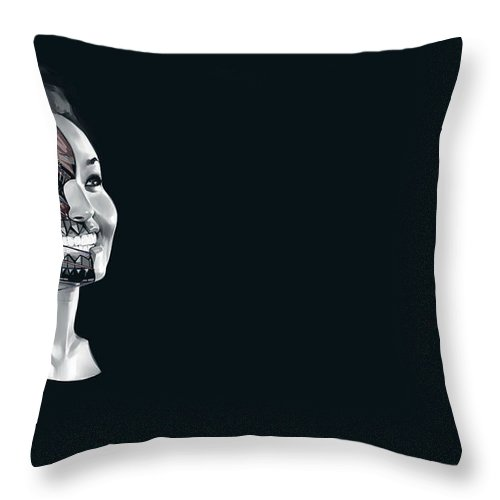 Cyborg Throw Pillow featuring the digital art Cyborg by Zia Low