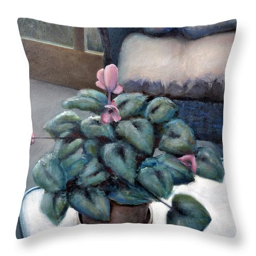 Cyclamen Throw Pillow featuring the painting Cyclamen And Wicker by Michelle Calkins