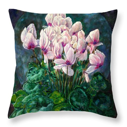 Cyclamen Flowers Throw Pillow featuring the painting Cyclamen In Orbit by John Lautermilch