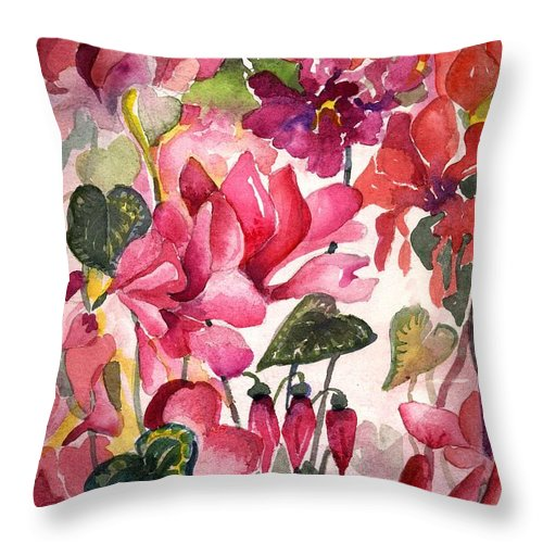 Cyclamen Throw Pillow featuring the painting Cyclamen by Mindy Newman